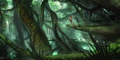 The Apeman by Ninjatic on DeviantArt Great jungly pic, lush with greens. And Tarzan, of course!