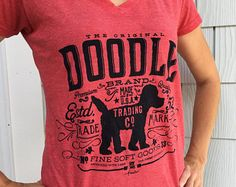 doodle trading company goldendoodle labradoodle hand screen printed women's v neck t-shirt by gemini studio art