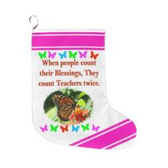 TEACHER APPRECIATION BUTTERFLY DESIGN LARGE CHRISTMAS STOCKING - college gift idea customize diy unique special