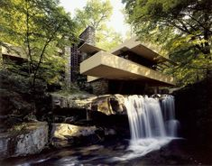 Fallingwater pictures: Low angle near waterfall (Frank Lloyd Wright house)