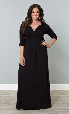 Here's the perfect plus size black full length maxi dress for that party you're going to!