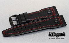 Lum-Tec Watches 24Mm Black W/Red Stitch Leather Strap W/ Pvd Buckle