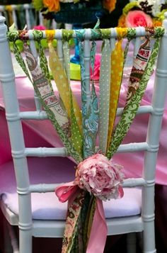 Cloth ribbons are a fun way to dress up chairs for any party or wedding. A pretty detail for your Mother's day brunch, tea party, bridal shower & more. Party Decoration, Wedding Decorations, Wedding Ideas, Chic Wedding, Spring Wedding, Garden Wedding, Gypsy Wedding, Party Wedding, Wedding Details
