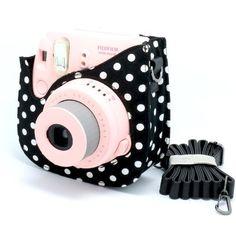 NodArtisan Colorful Dots Spot Cloth+PU fuji mini case for Fujifilm Instax Mini 8 Case + Free Shoulder Strap - Black:Amazon:Camera Photo