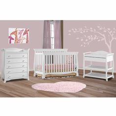storkcraft 3 piece nursery set venetian convertible crib aspen changing table and avalon 5 drawer dresser in white