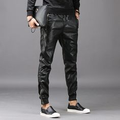 Autumn winter motorcycle faux leather pants mens loose harem pants personality fashion pu trousers for men pantalon homme black Hip Hop, Mens Leather Pants, Cargo Pants, Trousers, Black Leather, Street Style, Casual, Fashion Black, Street Fashion
