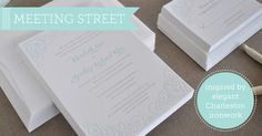Meeting Street Letterpress Wedding Invitations by Delphine - I love how classic the pattern is, but I don't love that it's not a solid stroke. Don't know if it should be filled in or just left as an outline