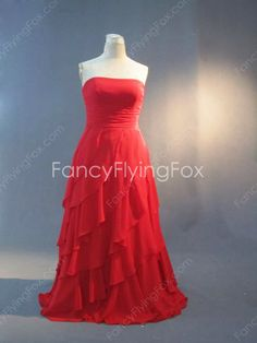fancyflyingfox.com Offers High Quality Red Chiffon Strapless Neckline A-line Full Length Plus Size Prom Dresses With Ruffles ,Priced At Only US$185.00 (Free Shipping)