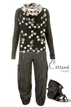 Crea Concept dot/stripe open neck pullover