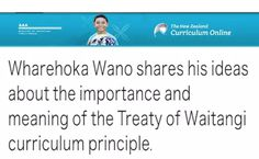 Wharehoka Wano shares his ideas about the importance and meaning of the Treaty of Waitangi curriculum principle. Treaty Of Waitangi, Waitangi Day, Curriculum, Meant To Be, Teaching, Ideas, Maori, Education, Thoughts