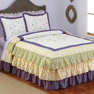 Leila Embroidered Floral Ruffled Bedspread - 28614-