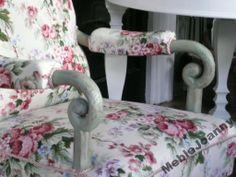 Przepiekny fotel róże  shabby buduar