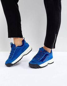 Синие бархатные кроссовки Fila Disruptor