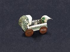 BABY BUGGY Money Origami - Dollar Bill Art Fold Dollar Bill, Dollar Bill Origami, Money Origami, Folding Money, Origami Paper Folding, Origami Art, Holiday Crafts, Fun Crafts, Paper Crafts