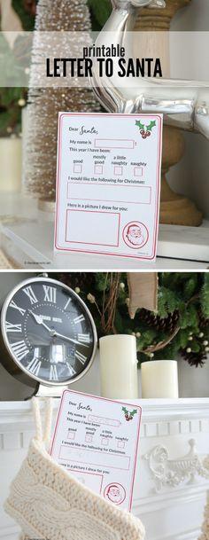 Christmas   Free Printable   Printable Santa Letter for Kids   Do your kids still write letters to santa?