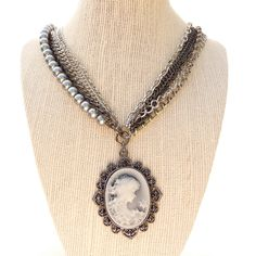 Vintage Style Necklace Cameo, Costume Jewelry by susansbeadhappy