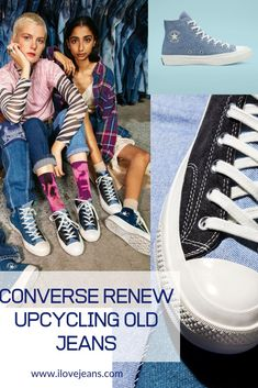 Converse teams up with UK vintage store Beyond Retro to recreate a sustainable preloved denim Chuck 70 high top boot for the Converse Renew Initiative Collection. Read about it on ilovejeans.com