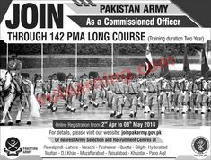 Join Pak Army through 141 PMA Long Course 2018 as Commissioned Officer Online Registration Apply Latest