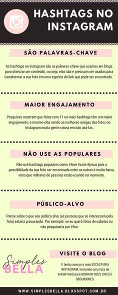 Aumente suas curtidas e seguidores no Instagram usando as Hashtags. Nesse post eu te dou dicas de como melhor aproveitá-las, e uma lista de hashtags para você usar. Acesse! #instagram #instagramdicas #hashtags #seguidores #blogger #bloggingtips #infographic #infografico