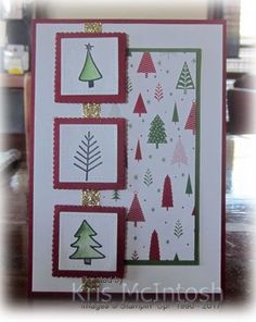 Lots of Trees This is the second card I made using Watercolour Christmas. This one uses the Be Merry Designer Series Paper from the Annual Catalogue. I attached the Designer Series paper to Garden Green card a… Christmas Cards 2017, Simple Christmas Cards, Homemade Christmas Cards, Noel Christmas, Xmas Cards, Homemade Cards, Handmade Christmas, Winter Cards, Card Sketches