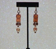 "MCFROGGY'S ORIGINAL ONE-OF-A-KIND HANDCRAFTED STEAMPUNK EARRINGS-LAMPWORK-COPPER-TAN-BROWN-WHITE-3 1/4""-INCLUDES A FREE GIFT-CERTIFICATE OF AUTHENTICITY AND GIFT BAG-$16.99 