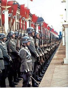 Wehrmacht troops stand at attention as they begin to carry out their long-rehearsed parade display to Adolf Hitler in celebration of his birthday on April Ww2 History, World History, Military History, World War Ii, German Soldiers Ww2, German Army, Germany Ww2, Total War, The Third Reich