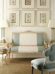 french provincial decorating ideas settee upholstered with wide stripe designer suzanne kasler