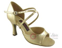 Natural Spin Signature Latin Shoes(Open Toe, Leather):  HL1102-02_GoldS