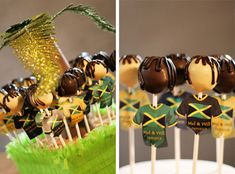 Jamaican cake pops - I love the dreads! 35th Birthday, 30th Birthday Parties, Anniversary Parties, Jamaican Desserts, Jamaican Cuisine, Jamaican Party, Jamaican Wedding, Party Party, Party Time