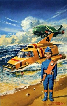 "Thunderbirds, art by Shigeru Komatsuzaki, Japan who was known in Japan as a ""giant in sci-fi illustrations"" Thunderbird 1, Thunderbirds Are Go, Retro Futuristic, Best Series, Military Art, Sci Fi Art, Graphic Design Illustration, Science Fiction, Illustrators"