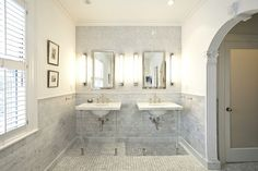 Suzie: Pricey Pads   Stunning Master Bathroom With Arched Doorway, Marble  Basketweave Tiles .