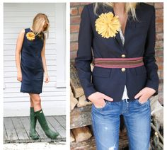Navy jacket, woven belt and large fabric flower in yellow