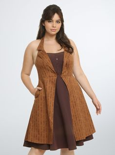 "<p>Elements of The Tenth Doctor and Eleventh Doctor come together on this halter swing dress for the ultimate in geek chic. It pays homage to the Tenth Doctor's pinstripe suit and overcoat, as well as the Eleventh Doctor's brown sonic screwdriver.</p>  <p> </p>  <p><b>Model is 5'8"", size 1</b></p>  <ul> 	<li>Size 14 measures 29 1/8"" from shoulder</li> 	<li>Polyester/rayon/spandex/cotton</li> 	<li>Wash cold, line dry</li> 	<li>Imported plus size dress</li> </ul>"