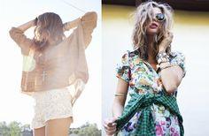 Left: Metallic Pop Knit, Crochet Tap Shorts, Big Cross Pendant, Right: Elegant Affair Dress, Teen Spirit Plaid Shirt, Factory Girl Shades