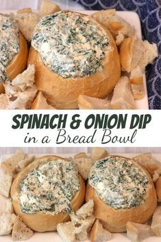 How to make Spinach and Onion Dip in a bread bowl! This easy works great for a holiday or get togethers! How to make Spinach and Onion Dip in a bread bowl! This easy appetizer recipe works great for a party, holiday or get togethers! Appetizers For A Crowd, Seafood Appetizers, Easy Appetizer Recipes, Appetizer Dips, Party Appetizers, Party Snacks, Christmas Appetizers, Dip Recipes, Bread Bowl Recipes