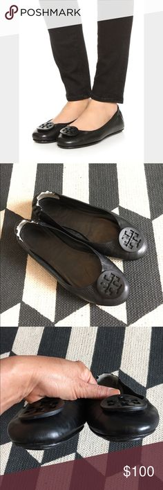 Tory Birch Mini Travel flat Black leather, size 8, it can fit 8-8 1/2, worn many times with normal wear, please ask 4 more photos, in good condition, no scuffs, no trades Tory Burch Shoes Flats & Loafers
