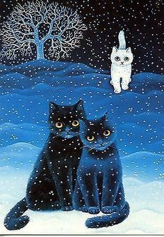 Cool folk art cat painting with snow and white tree. Anna Hollerer