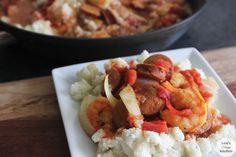 JAMBALAYA:  1 lb. large shrimp, 3 andouille (or other) chicken sausage sliced, 1T olive oil, 15oz fresh or canned diced tomatoes, 1C organic chicken broth, 1 yellow onion sliced, 1t paprika, 1t ground cumin, 1/2t cayenne, S/P.