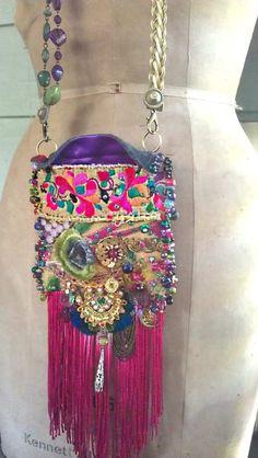 Ecstasy Bag, Cross Body, Antique Embroidered, Velvet, Silk, Bohemian Gypsy. $365.00, via Etsy.