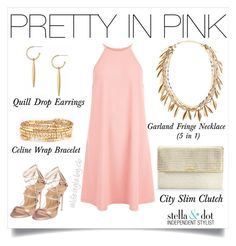 Feminine Pink with a touch of Stella & Dot gold! by cathy-bartlett on Polyvore featuring polyvore, fashion, style, New Look, Dsquared2, Stella & Dot and clothing