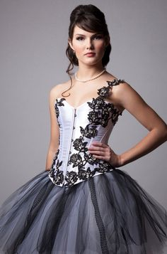 Custom White and Black Crystal Lace Corset by MilaHoffmanCouture