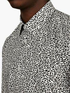 Kenzo Men's White Fish Print Shirt   oki-ni