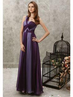 Contrast Chiffon Single Shoulder Strap Neckline Bodice A-line Prom Dress