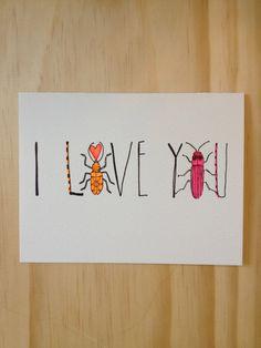 I Love You Beetle Card by HartlandBrooklyn on Etsy, $4.50