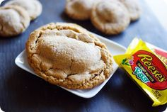 Reese's Peanut Butter Egg Stuffed Cookies - Bake at 350 Caution: these cookies are illegal in NYC Reese Eggs, Reese Peanut Butter Eggs, Peanut Butter Cookies, No Egg Desserts, Cookie Desserts, Dessert Recipes, Yummy Treats, Delicious Desserts, Sweet Treats