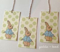 Free printable peter rabbit party supplies  via gaddie and tood: banner, tags, cupcake toppers, note cards, invitations #Easter #BabyShower