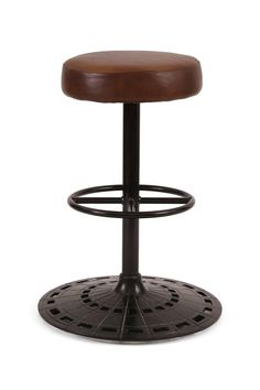 Idea for barstools - perforated metal bases? Or perforated details somewhere? Swivel Bar Stools, Counter Stools, Perforated Metal, Cast Iron, Industrial, Canning, Leather, Counter Stool, Industrial Music