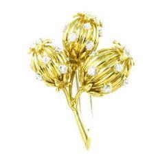 Tiffany & Co. Schlumberger Diamond Gold Thistle Brooch