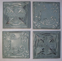 ALL 4 Framed Antique Ceiling Tin Tiles circa by DriveInService