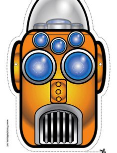 This narrow robot mask is orange with big round eyes. His mouth is a grate and he has a domed glass head. Free to download and print